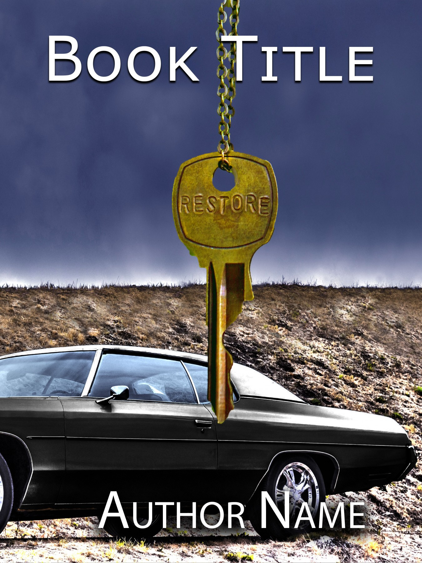 Book Cover Layout Key ~ Classic black muscle car in the desert with gold key