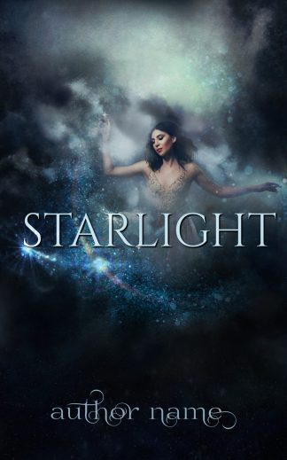 Starlight book cover, lady disppearing into clouds pretty font with blue sparkles